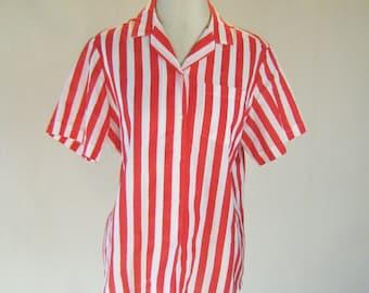 Vaudeville Circus Striped Button Shirt Top