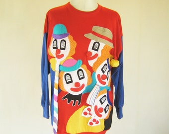 Tacky Clown 3D Colorful Pop Art Sweater Shirt Top