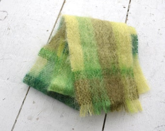 1960s Green Plaid Mohair Scarf
