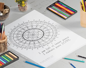 Mantra Mandala - Adult Coloring Pages - Downloadable Coloring Pages - Mandala Coloring Pages