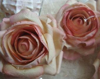 6 Large Peach Cream Parchment Paper Roses