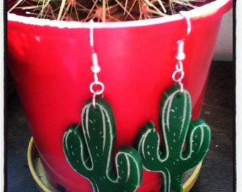 Large CACTUS dangly earrings.. Mexican / Desert / Plant / Acrylic