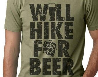 Summer Outdoors, Will Hike for Beer Graphic Tee, Hiking Shirt, Camping Shirt, Gift for Hiker, Camper TShirt, Outdoor Fitness Shirt