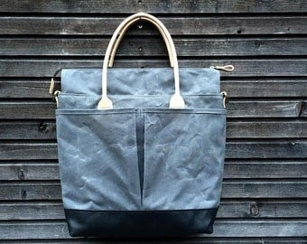 Diaper bag / weekend bag in waxed canvas  with leather handles and bottom COLLECTION UNISEX