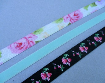 Floral Elastic Headbands Adult Teen Size Black and Pink Rose Hair Band Mint Green Velvet Stretchy Head Band Pastel Flower Elastic Headband