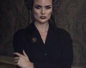 Black and Antique Gold 'Natasha' Lace Kokoshnik Headdress