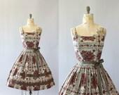 Vintage 50s Dress/ 1950s Cotton Dress/ Brown and Maroon Floral Cotton Spaghetti Strap Dress w/ Bows M