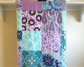 Modern Baby Girl Quilt - Lavender and Aqua - Patchwork, Baby Girl Quilt, Homemade, Minky Back, Teal, Purple, Grey, Turquoise,Nursery Bedding