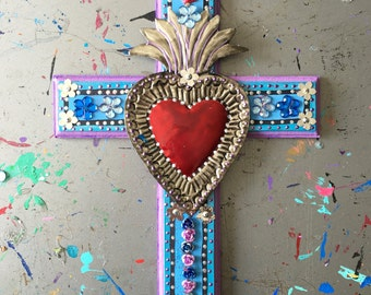Sacred heart tin ornament ex voto on XL wooden cross / Mexican metal flaming heart milagro // OOAK art / Mexican Love heart wedding gift