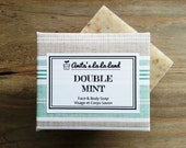 Double Mint Soap - Spearmint and Peppermint Oils Scented, Cold Process Soap for Face & Body, 100% Natural