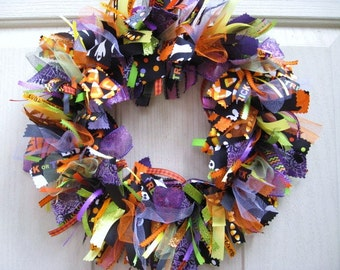 Halloween Wreaths, Fall Wreath, Autumn Wreaths, Halloween Decor, Halloween Decoration, Black Orange Purple Ribbon Fabric Wreath