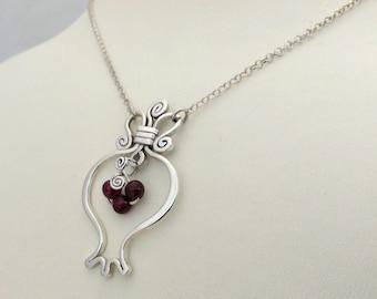 Silver pomegranate necklace, sterling silver & garnet RIMON pendant, pomegranate silver necklace, prosperity abundance, judaica jewelry