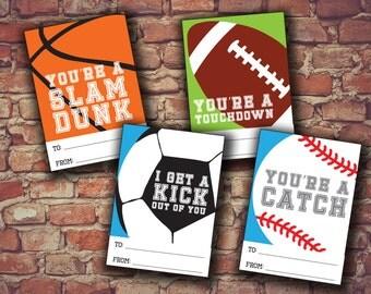 Sports Valentine Cards, Baseball, Football, Soccer, Basketball, Valentine Day Card, DIY Valentine, Valentines Card Set, Printable Valentine
