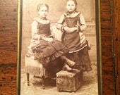 RESERVED-Two Sisters Vintage Victorian Cabinet Card Photograph Studio Portrait