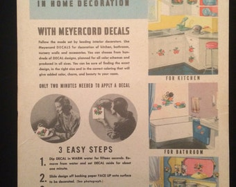 RARE Set of Vintage Kitchen and Household Meyercord Company Water Slide Decals
