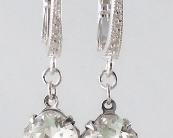 Bridal Earrings Crystal Silver tarnish resistant  bridesmaids estate old hollywood wedding classic