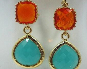 Earrings Tangerine Orange Aqua  Glass Stones old hollywood weddings bridal elegant antiqued vintage style