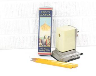 Vintage Pencil Sharpener - Vacuumette Hand Crank - Cleaned, Oiled - Vacuum Table Mount Bostonette - Ivory Manual Tabletop Pencil Sharpener