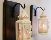 Antique White Shabby Lantern Pair (2), Farmhouse decor, kitchen decor, shabby chic decor, lantern candle, wrought iron hook, stained pine