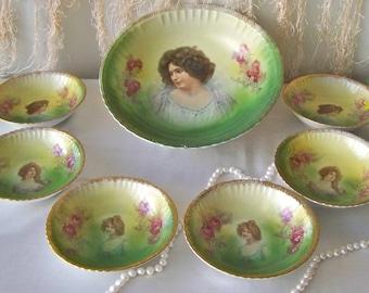 Antique Portrait Bowl Set 1890 Austria Signed Porcelain Berry Bowl 7 Piece Set Victorian Lady Art Nouveau Cottage Decor
