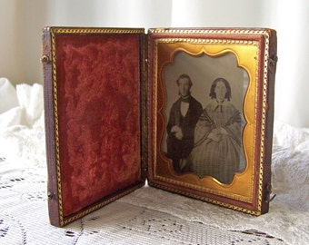 Antique Ambrotype Civil War Era Photo Framed Antebellum Photo Antique Photo Daguerre Leather Case Late 1800s