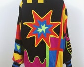 Bright vintage oversized cardigan 90s hip hop IB diffusion, slouchy Patchwork sweater jacket M