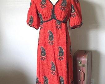 Vintage Ethnic Indian Cotton Dress, 90's Block Print Paisley Floral Fire Orange Cotton Midi, size large L