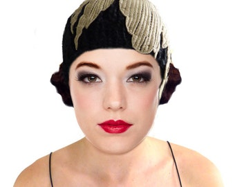 Black Knit Flapper Hat Cloche hat Gold Leaf 1920s Great Gatsby winter autumn Downtown Abbey Beanie cap Wool Lace Art Deco Hat Gift For Her