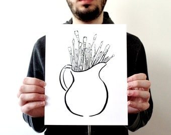 Artist gift, inspirational art, black and white art, best friend gift, minimal art, wall art prints, artist prints, artist paint brushes