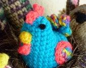 Crochet Chicken -CARRIE - Turquoise Stuffed Chicken Amigurumi - Easter Chicken - Bright Blue Chicken - Chicken Toy - Chicken Plush