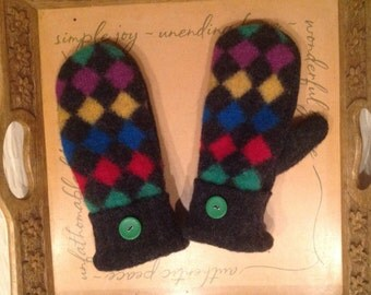 Upcycled Wool Handmade Sweater Mittens - Multi-colored, shetland wool