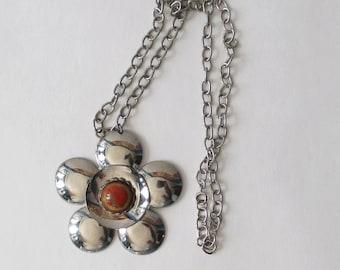 Mod Flower Necklace Silver Tone and Orange Vintage Mod Necklace
