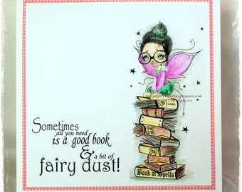 Instant Download Big Eye Bookworm Fairy landing on Book Stack Digital Stamp Coloring Page ~ Astrid the Fairy Image No. 297 by Lizzy Love