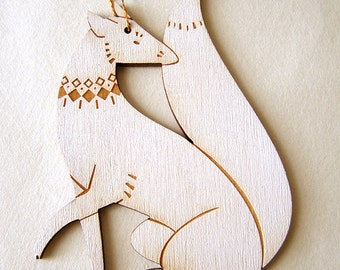 Arctic Fox Holiday Ornament