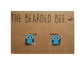 Blue Owl Earrings, Handmade Owl Stud Earrings, Owl Studs