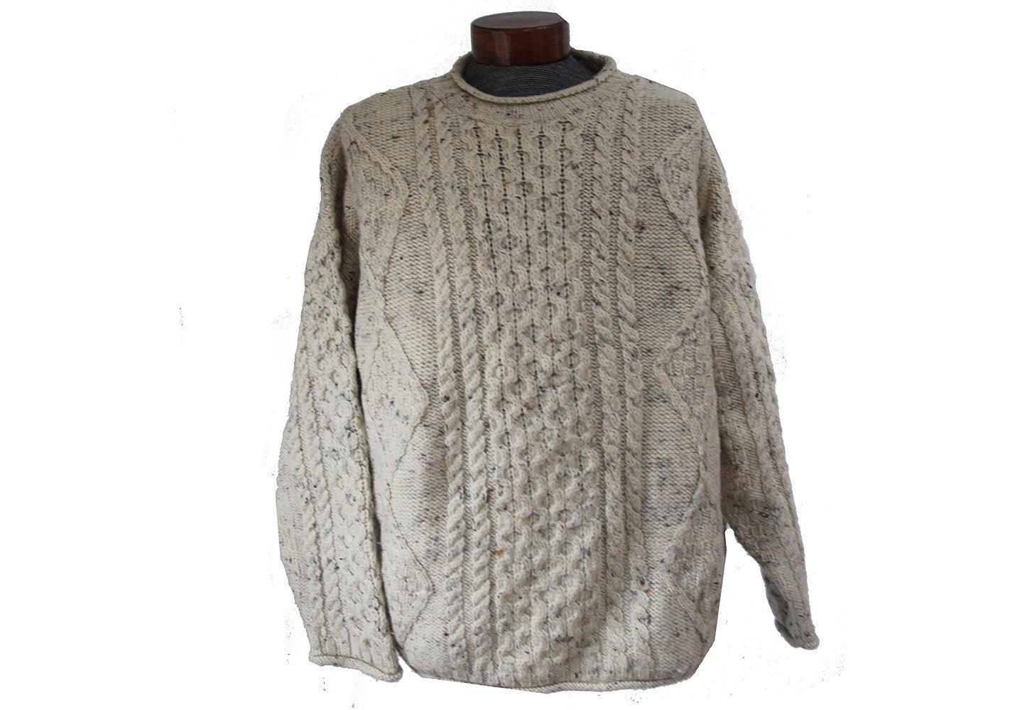Oatmeal cable knit fisherman sweater wool ireland inis crafts for Inis crafts ireland sweater