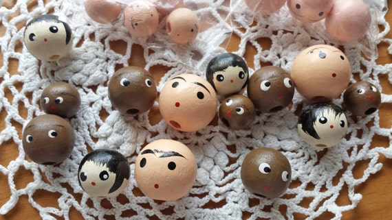 22 Doll Head Beads, Small Painted Wood Beads with Cute Faces