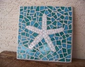 Mosaic Starfish Wall Art Stained Glass Mosaic Art Starfish Wall Hanging White Starfish Turquoise Decor Beach Decor Coastal Home Decor