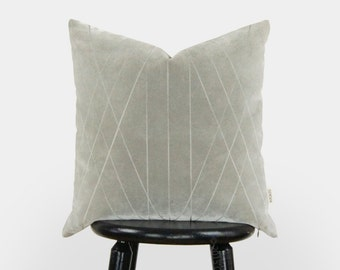Grey Velvet Pillow | 18x18 Graphic and Geometric decorative pillow case, cushion cover in gray and beige | Mid century modern home decor