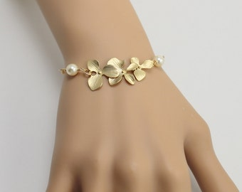 Gold Orchid Bracelet, Orchid Flower Bracelet, Orchid Jewelry, Pearl Bracelet,  Bridesmaid Gift, Wedding Jewelry,