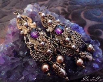 SALE!- Renaissance Amethyst Purple Jewel Earrings, Victorian Antique Brass, Crystal & Golden Pearls, Clip-On Option, Colors!