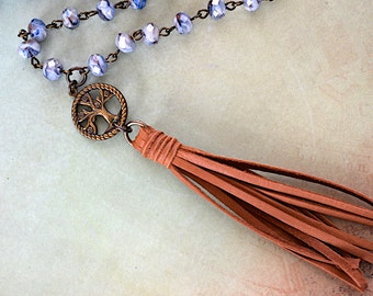 Denim Blue And Rust Swirl Allure Crystal Bead / Saddle Tan Deerskin Tassel / Brass Tree Charm Necklace