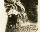 "Vintage Photo ""She Found Fresh Water"" Waterfall Woman Snapshot Antique Photo Black & White Photograph Found Paper Ephemera Vernacular - 44"