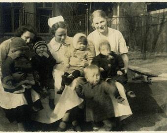 "Vintage Photo ""Passel of Cuties"" Baby Boy Orphanage Children Snapshot Photo Old Antique Black & White Photograph Found Paper Ephemera - 64"