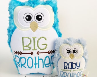 Stuffed Owl Brothers Set - Big Brother and Baby Brother - Plush Owl - Stuffed Animal - Personalized Stuffed Animal - Sibling Gifts, Baby