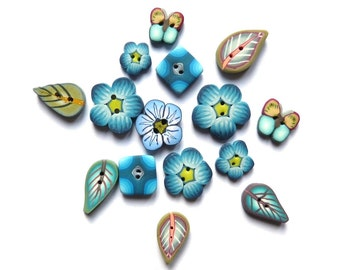 BLUE and TURQUOISE handmade buttons, DIY supply, Flower Leaf Butterfly, set of 15 polymer clay artisan mini buttons, set of small buttons