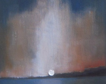 """Sunset Reflection - Oil landscape painting - beach painting seascape - night sky landscape -  canvas 5""""x7"""" - abstract landscape oil painting"""