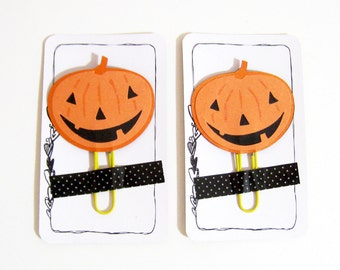 Pumpkin Planner Clip, Halloween Pumpkin Planner Accessories, Stationery, Paperclips, Page Marker, Halloween Pumpkin Paper Clips, Filofax