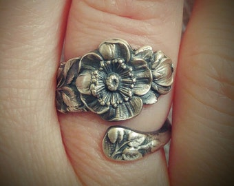 Small Wild Rose Ring, Spoon Ring Sterling Silver, Antique Spoon Watson Floral Ring Gift, Dainty Silver Rose Ring, Adjustable Ring Size, 6183