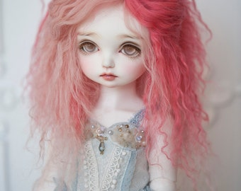 1/3 Size Mix Pink Tibetan Mohair Wavy Wig for Volks BJD SD and Pullip Dolls